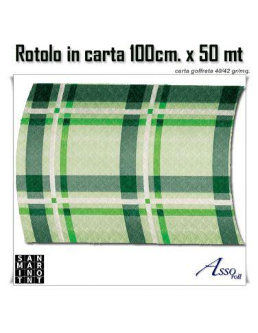 Tovaglia goffrata scozia verde rotolo 50mt
